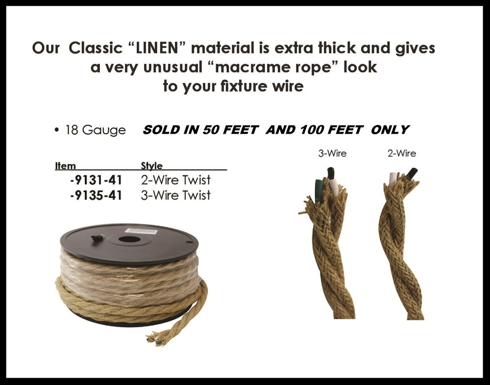 NEW....HEAVY MACRAME ROPE LOOK WIRE 2 & 3 CONDUCTOR