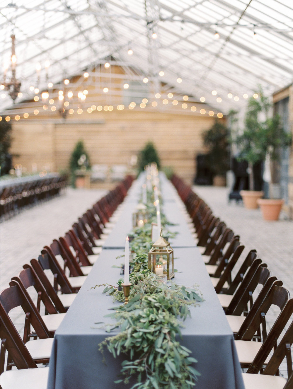 $2500 - 150ft of garland + luminariesSeeded Eucalyptus and Variegated Pittosporum garland kings tables. 150 guestsFinishes: Lanterns, votives, and tapers