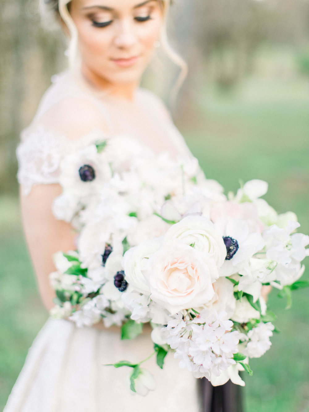 $400 - bridal bouquetBridal bouquet with premium blooms and no greenery.Finishes: Three sets of 4in/4yd Silk & Willow Silk Hand-Dyed Ribbon