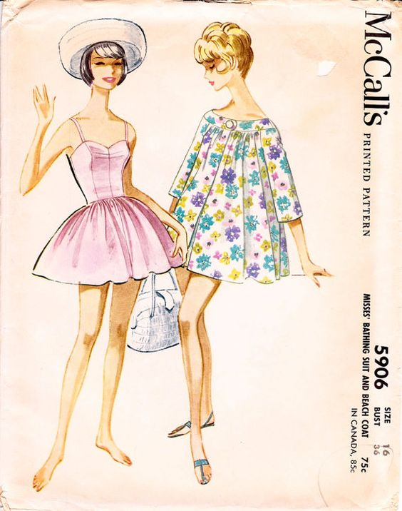 1961 McCalls swimsuit pattern....isnt her hat adorbs??