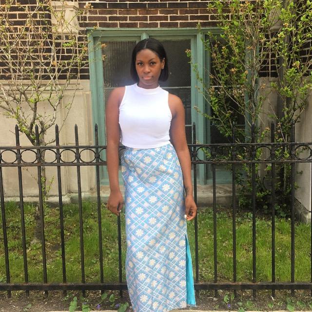 Brocade Maxi Skirt, Pearled Shoebox Vintage, $70