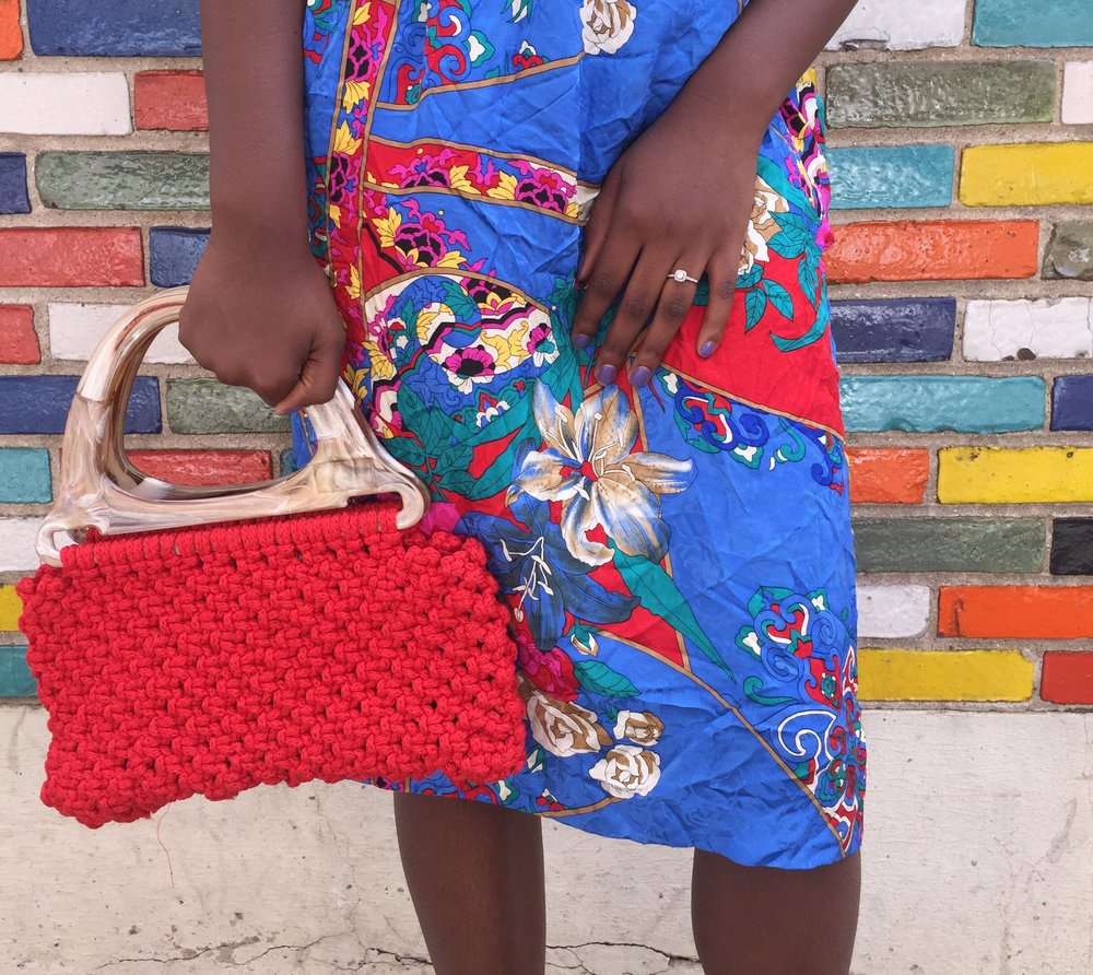 Vintage Silk Skirt, Pearled Shoebox, $36 and Red Crotchet Hand Purse, Pearled Shoebox, $32