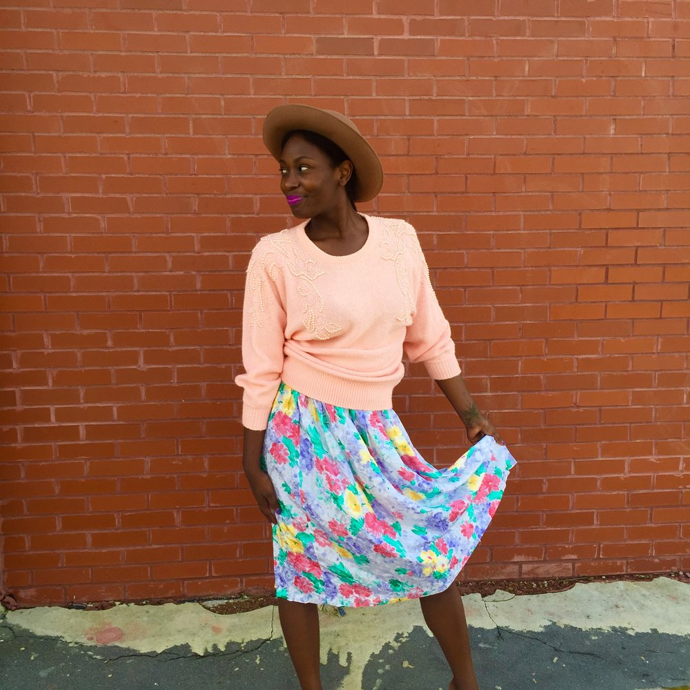 Garden of Loveliness Skirt, $24, & Tan Brim Wool Hat $25, Pearled Shoebox Vintage