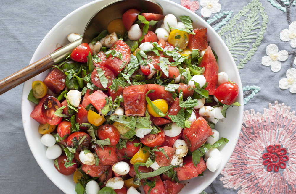 Tomato and Watermelon Caprese Salad