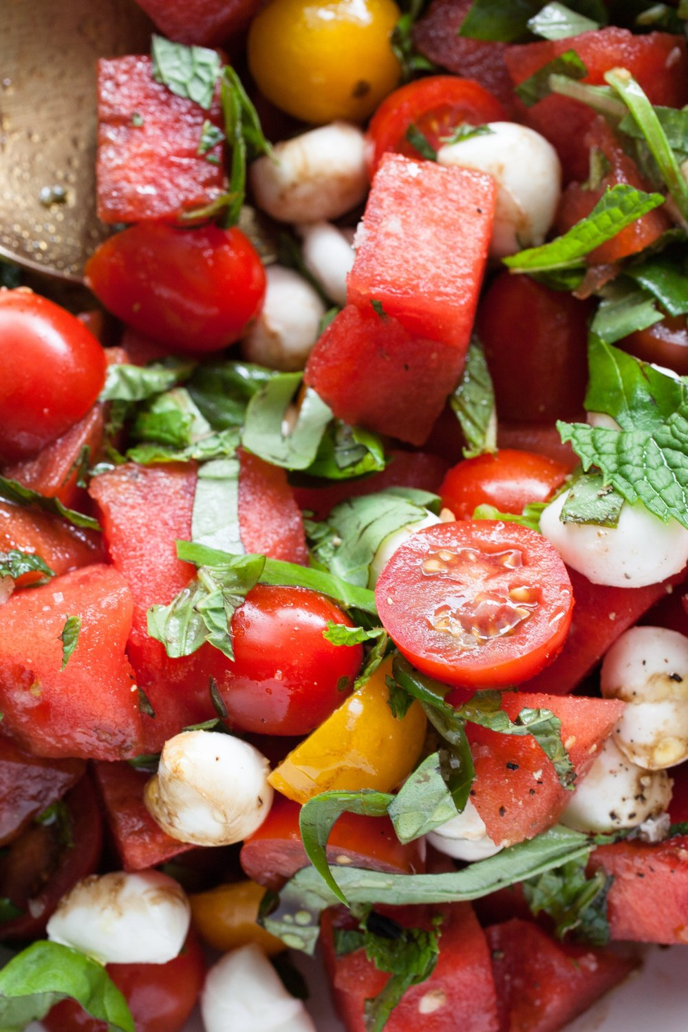 Tomato & Watermelon Caprese Salad - miracle gro