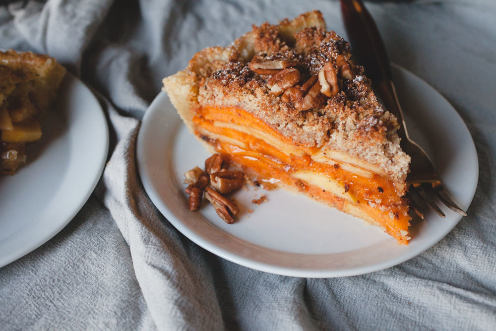 Persimmon and Apple Crumb Pie - of the dirt