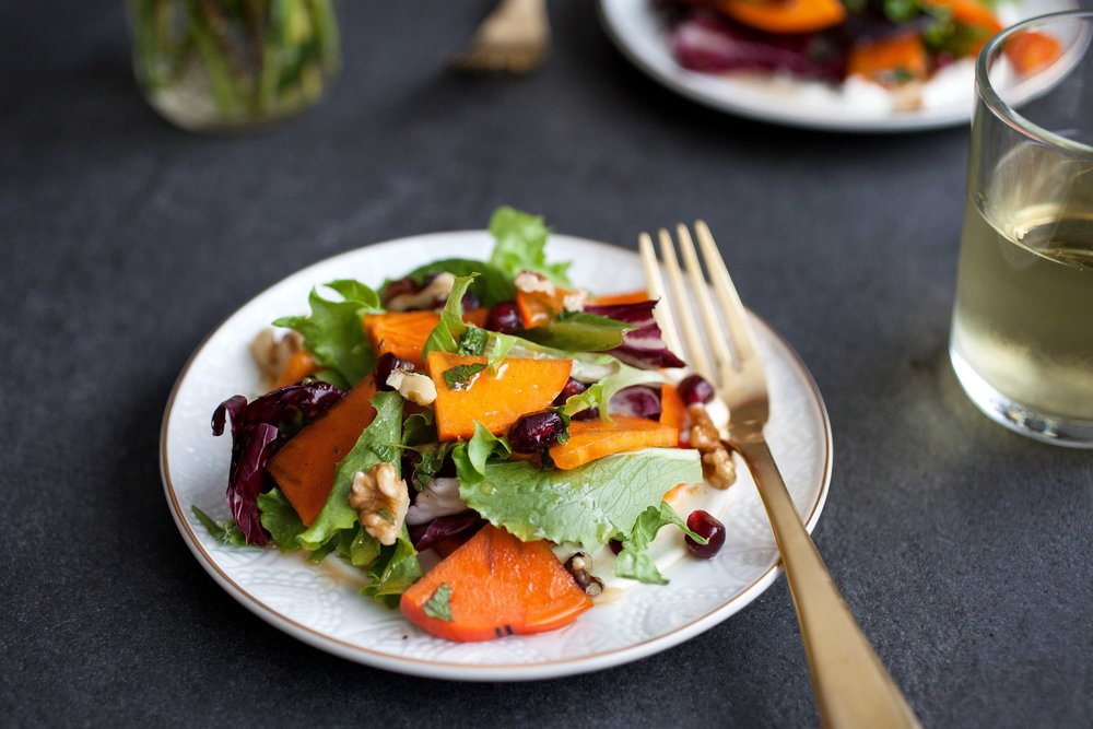 Persimmon Salad with Whipped Goat Cheese - bonnie plants