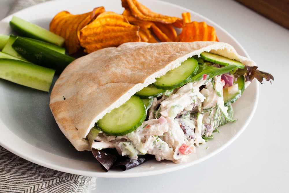 Greek Chicken Salad Pitas - bonnie plants - Fast & Fresh