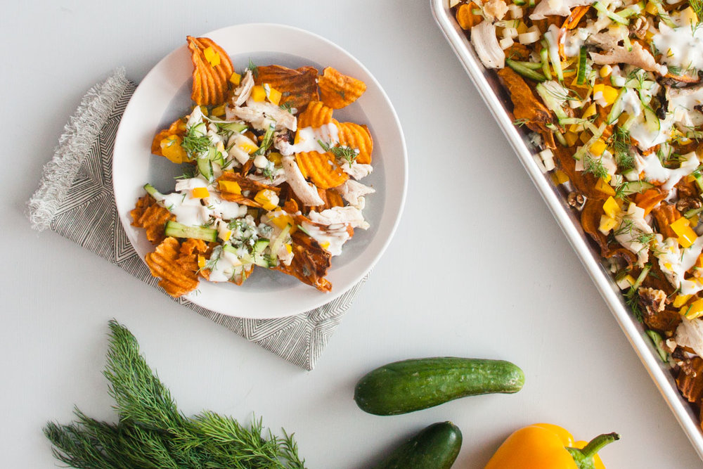 Sweet Potato & Blue Cheese Nachos - bonnie plants - Fast & Fresh