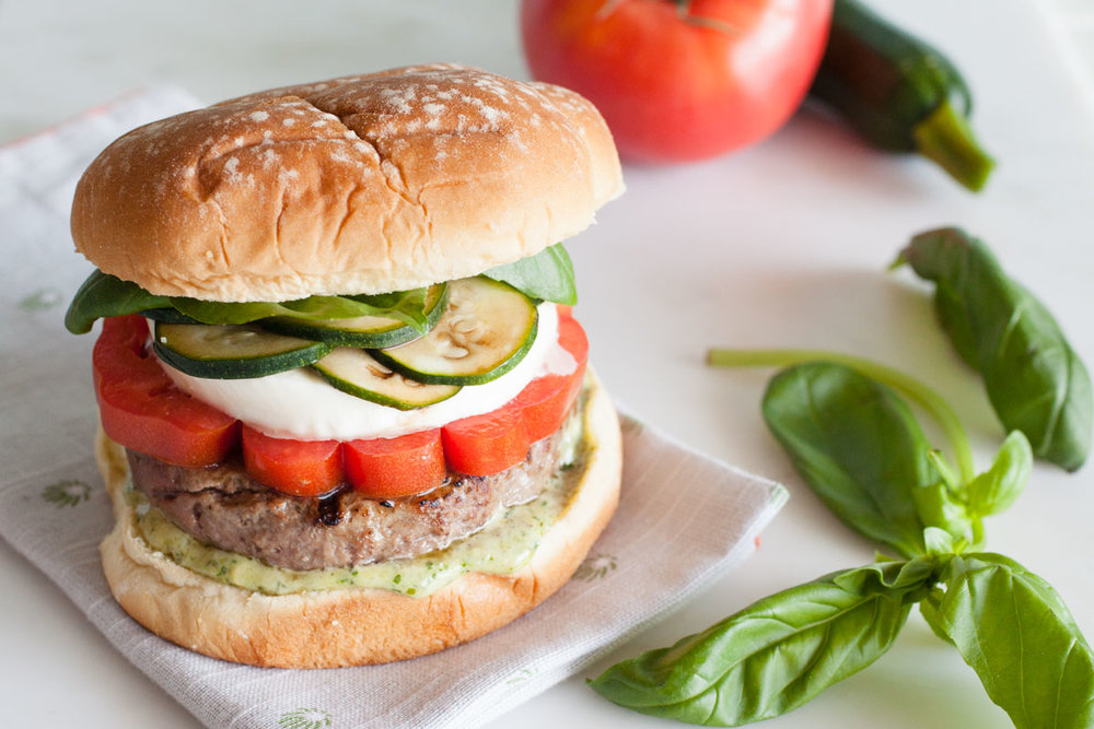 Caprese Burger - bonnie plants - fast & fresh