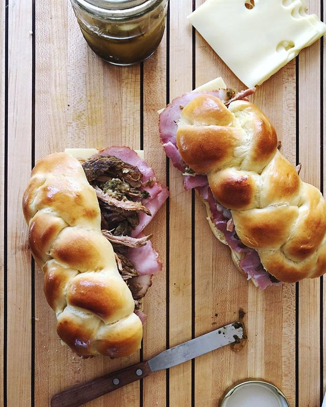 Challah, meet your new friend, the Cuban sandwich. #grandmawouldbeproud #f52grams #sandwiches #cuba #thecookfeed #thebakefeed #mollyontherange #bareaders