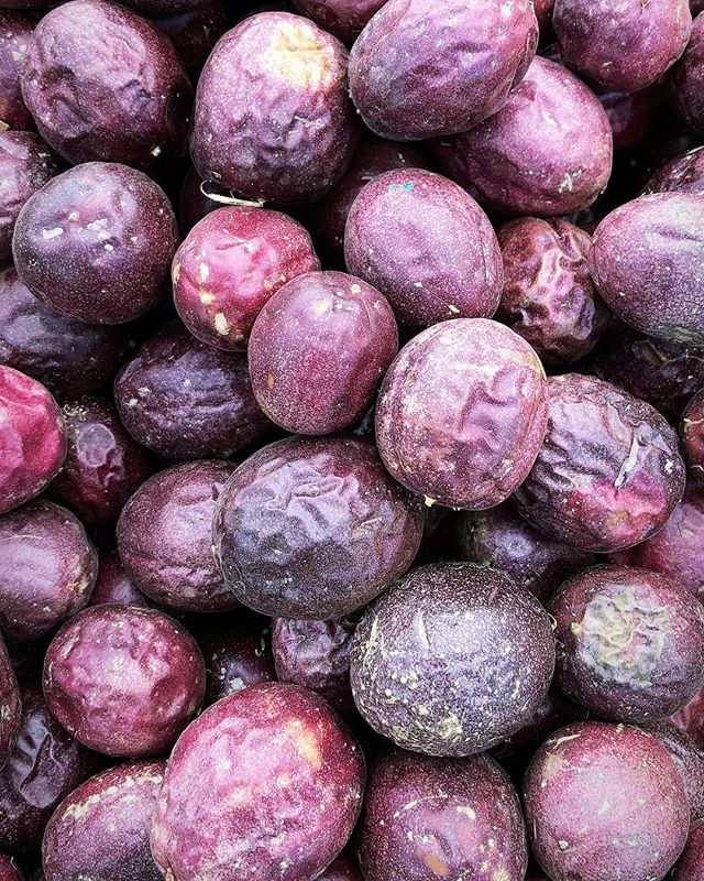 It's like passion fruit knew it was going to be 2018's Color of the Year so it put it's best face on. #drooling #coloroftheyear #pantone #dspurple #passionfruit #f52farmstand #hillcrestfarmersmarket #jacysfarm
