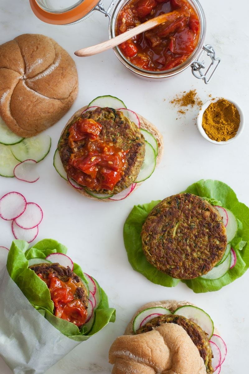 Curried Squash Burgers with Tomato Chutney - BONNIE PLANTS - FOODIE FRESH