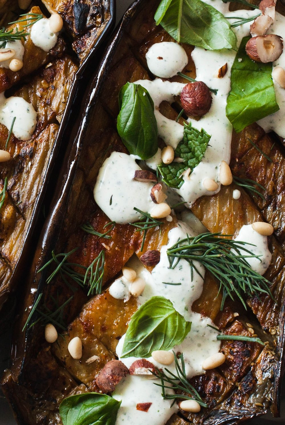 Roasted Eggplant with Herbed Labneh - bonnie plants - foodie fresh