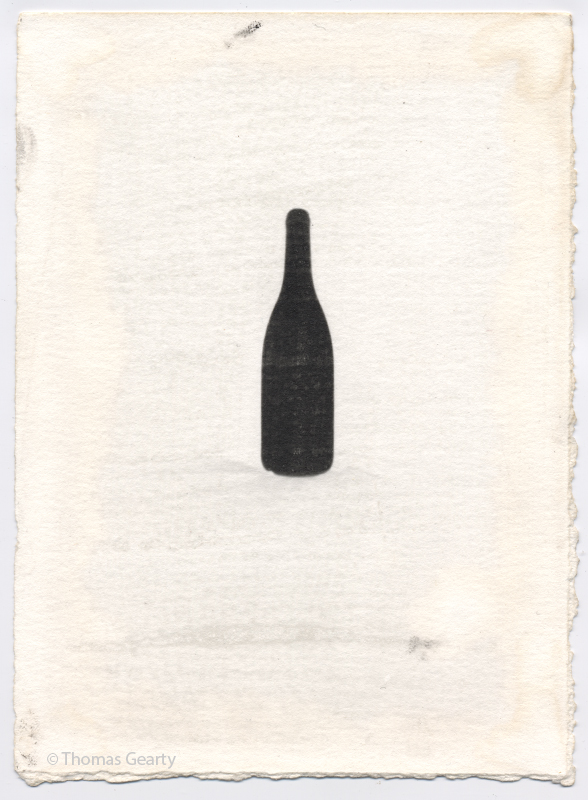 Wine bottle, from the series Iconotypes   Unique liquid-emulsion print on watercolor paper