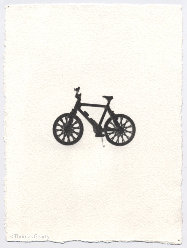 Bicycle, from the series Iconotypes   Unique liquid-emulsion print on watercolor paper