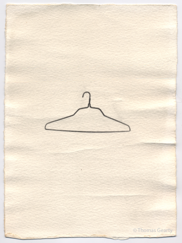 Clothes hanger, from the series Iconotypes   Unique liquid-emulsion print on watercolor paper