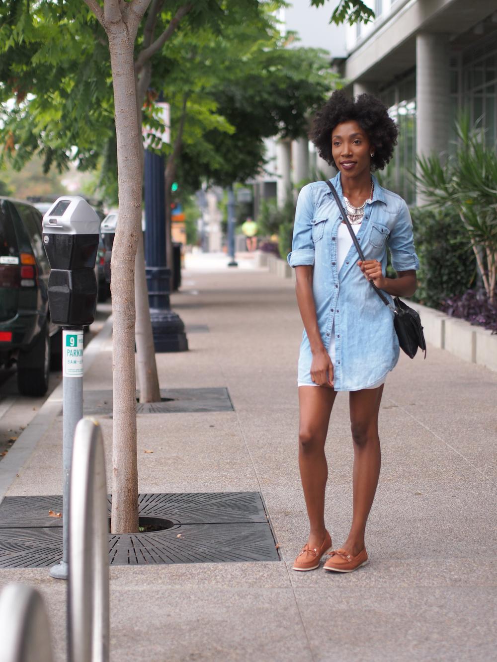 Denim Top: Ross Dress for Less White Basic Dress: H&M Bag: Forever 21 Necklace: Boho Chic USA