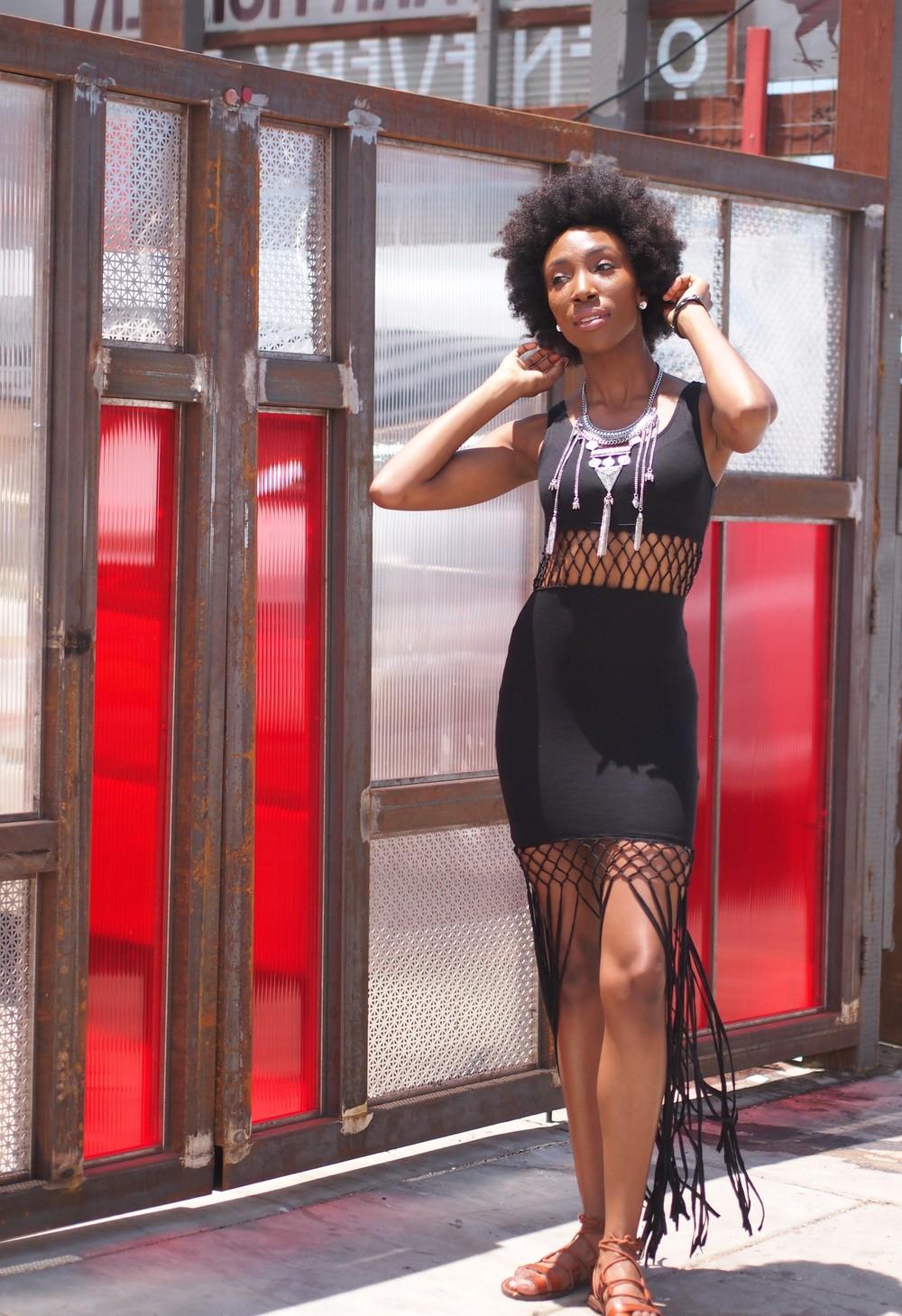 Dress:  H&M   Necklace:  Miss Match   Sandals:  Target