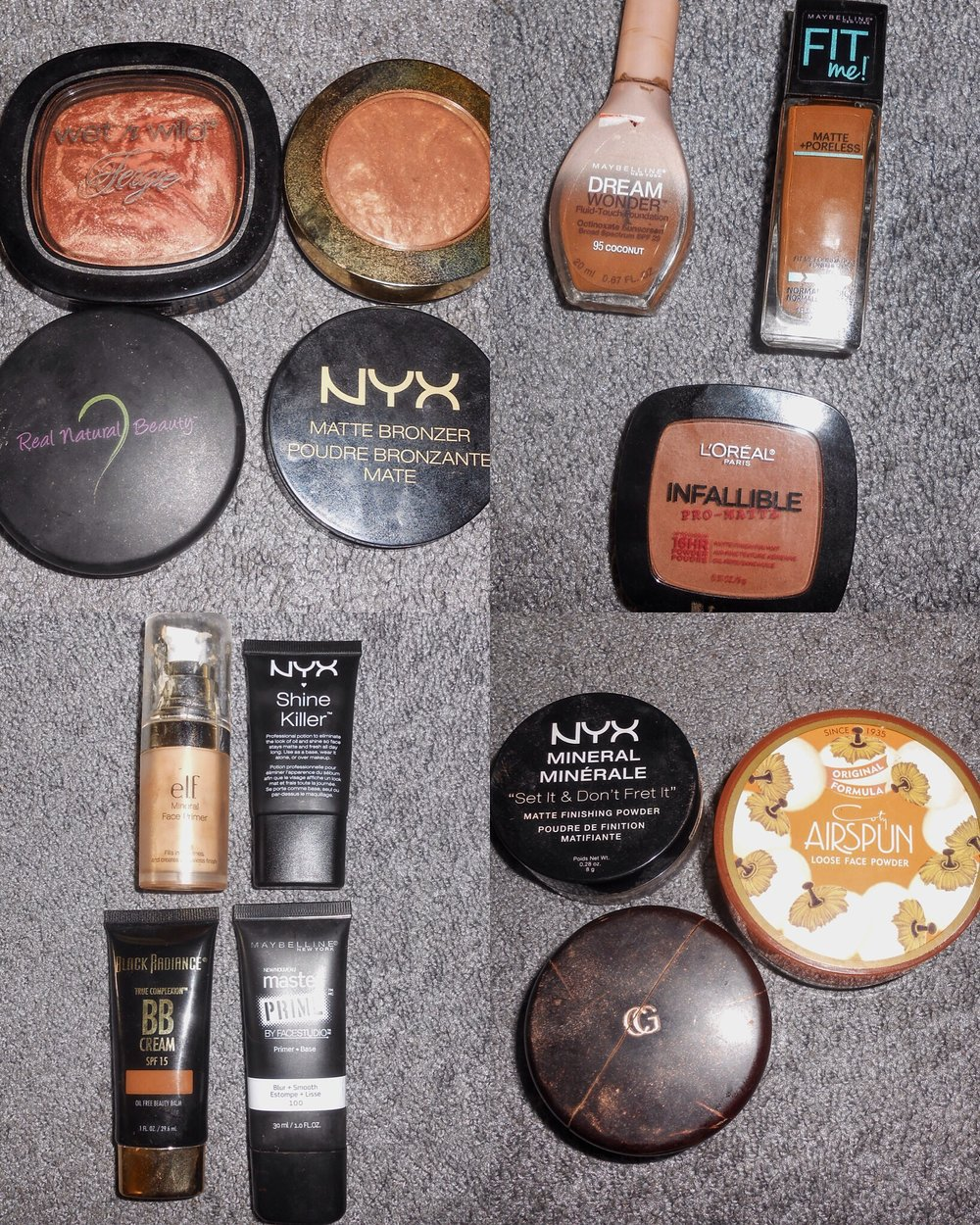 Top Left Corner... I love to combine different Bronzers together. I usually will add the NYX Matte Bronzer, Which has No Shimmer First and then put my other Bronzers on top of that. My Favorite are From Milani, Wet n Wild and Nolie Love. Bottom Left Corner... On Days that I don't really Feel like wearing a lot of make up (Which is Often) I will wear a Primer and BB Cream and call it a day. I Love the Black Radiance BB Cream, Because they have several Brown Shades to choose from and it helps to keep my skin protected during the day with SPF. My Favorite Primers have been the NYX Shine Killer, Maybelline Master Prime Smooth + Blur Primer and Elf Mineral Face Primer. I love the Elf Primer, because it adds an additional glow to what ever you put on top of it. Even before Bronzer!! Top Right Corner... Foundation and Powders... Having oily Skin some foundations I have found make me feel extra greasy (Not ok), But the Maybelline Fit Me Matte and Poreless and Maybelline Dream Wonder Fluid Touch Foundation have been my go to. Honestly a little bit goes a long way!!! My go to Powder has been the Loreal Infallible Pro-Matte. Bottom Right Corner... Setting Powders!!! The most important part about wearing makeup, is setting your face and making sure that you look amazing all day!! The NYX Mineral Set it and don't Fret it Powder has been my favorite for the past year, but then I discovered the Coty Airspun Powder recently and that one has been what I have used a lot lately. The Air Spun Powder keeps me Matte for most of the day, which is amazing because I use to have to do a Million Touch ups!! The Last setting powder is the Cover Girl Professional Finishing Power and it has a slight shimmer to it, so I use it after I set my Concealer Before I put on Bronzer to add a little extra Shimmer.   When I get my You tube channel back up and running... I will show in a Video how I use everything :)