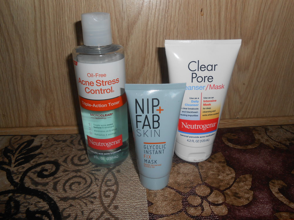 I've recently been using products from   Neutrogena   again!!! Neutrogena was my go to in High School and I had amazing skin back then... I don't know why I stopped using them. But, I thought why not use something again that I have used before. I love using the  Clear Pore Cleanser/Mask , because for 1 it doesn't dry out my skin like some other cleansers that I have used before and 2 it is a two for one and it has Acne medication in it, so it's a Win Win for keeping it simple!!  I had never used the  Acne Stress Control Triple Action Toner  before, but I wanted to try a different toner just to see if there was a difference from the other ones that I have been using, and honestly I have to say that I like it better than any other toner that I have previously used in the past year. The toner has  Salicylic Acid  in it, but my skin doesn't feel super dry after putting it on my skin. The toner actually gives me a Natural Glow after putting it on, which is amazing to me!!  I use the Clear Pore Cleanser/Mask every Night and I use the toner both during the Day and at Night as well.    Nip + Fab Skin   is a newer product that I had never used before, but it has  Glycolic Acid  in it, so I was interested in seeing how it would work on my skin. The  Glycolic Instant Fix Mask  is a Clear Mask that kind of reminds me of a Serum. You leave it on for 10 mins and then wash it off after. I have used other products with  Glycolic acid  in it and they were super strong and left my skin feeling super dry after. With the  Nip + Fab Skin  Mask, that is not the case. It tingles a little bit, but it is not over drying!  Since I have  oily skin  I thought that drying out my skin just a little bit wasn't bad, but after doing some research I have learned that the oil is actually protecting my skin!! So, keeping the moisture is not a bad thing!! **Just a little tip to my other oily skin peeps!! Keep the oil!! Don't try to get rid of it!!**  I use the Instant Fix Mask a few times a week at Night Before Bed.  Not Pictured... My Go to Moisturizer during the day and night is   Cetaphil  !!! I love it because it is very simple!! It is light weight and a little bit goes a long way!  I am not a Doctor!!! Everyone has different skin and different things work for different people!!