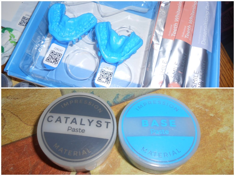 The First thing that you do when you receive your kit, is to make impressions for your Whitening trays. Above are what mine looked like before I sent them off.
