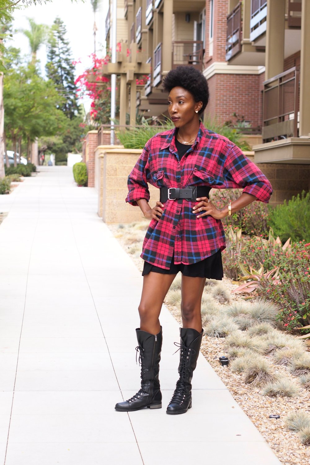 This Flannel is actually from the Mens section and I added a LBD to add a little length and for layering. Then I put a belt on top for Shape. I love shopping the Mens section!!! You can find the best oversized Shirts and make them dresses or add them to layered looks.
