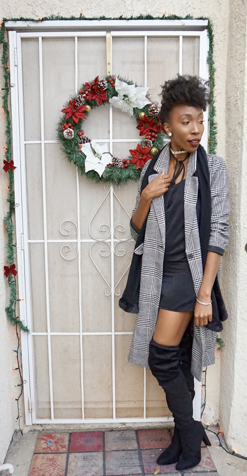 Not up for all of the Sparkle and Glitter... You can Slay in Black!!!! A LBD paired with Glam accessories can make anyone feel Fierce and Fab at any party!!!  Slip Dress:  H&M   Coat: H&M  Boots:  A'GACI   Scarf:  Cabi    Chocker:  A'GACI