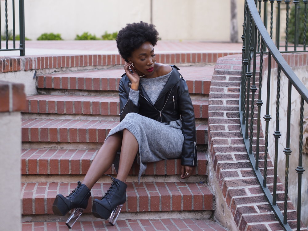 Sweater Dresses and Leather Jackets  H&M has some of the most comfortable sweaters and sweater dresses have been my favorite thing to wear recently. They are great for layering and so easy to just throw on when you are looking for something cozy and stylish.   Details:  Dress:  H&M   Jacket:  H&M   Booties: 10 Dollar mall