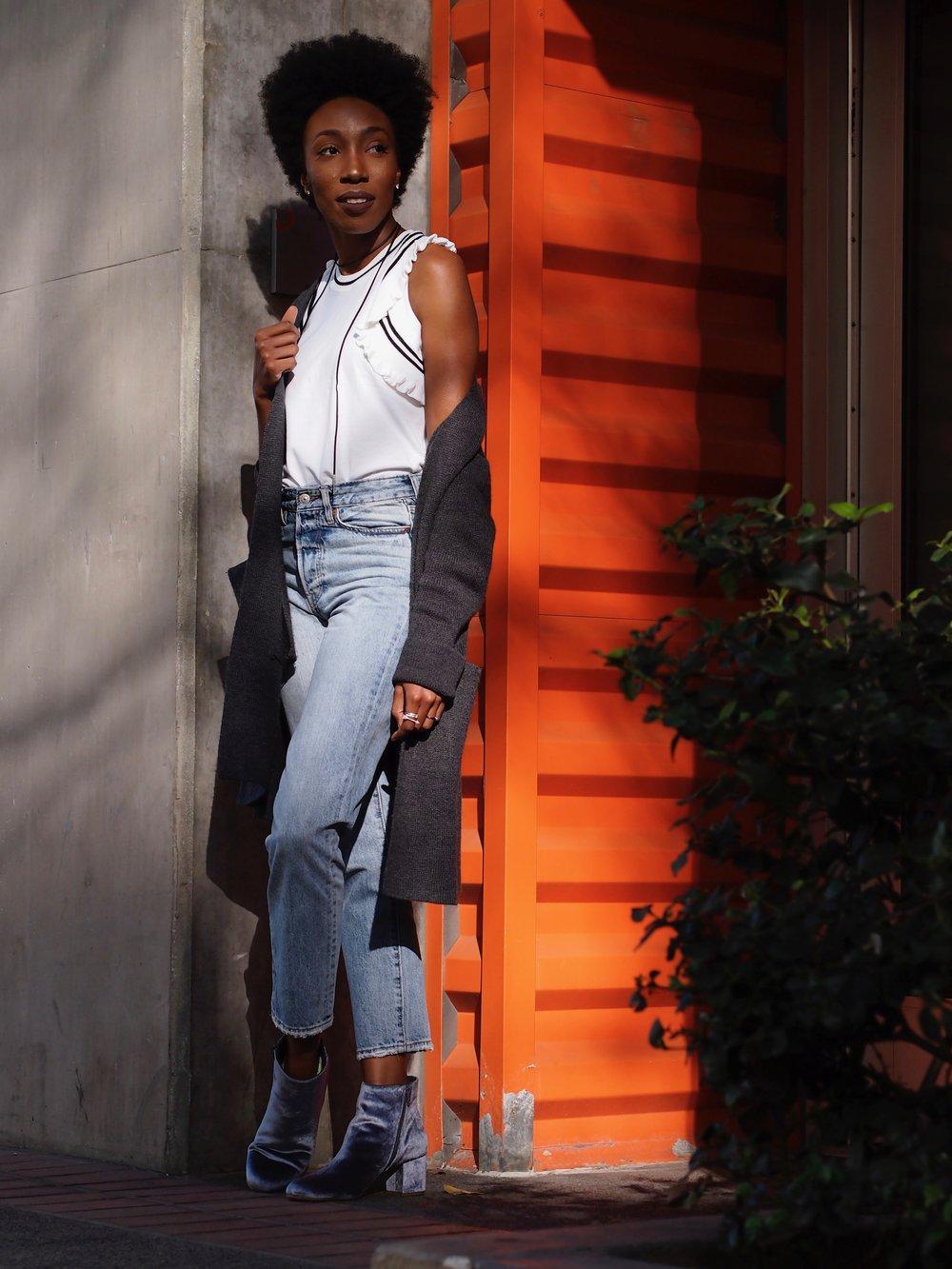 Straight leg crop  Jeans:  H&M   Top:  Cabi   Boots: Target  Cardigan: H&M  Chocker:  A'GACI