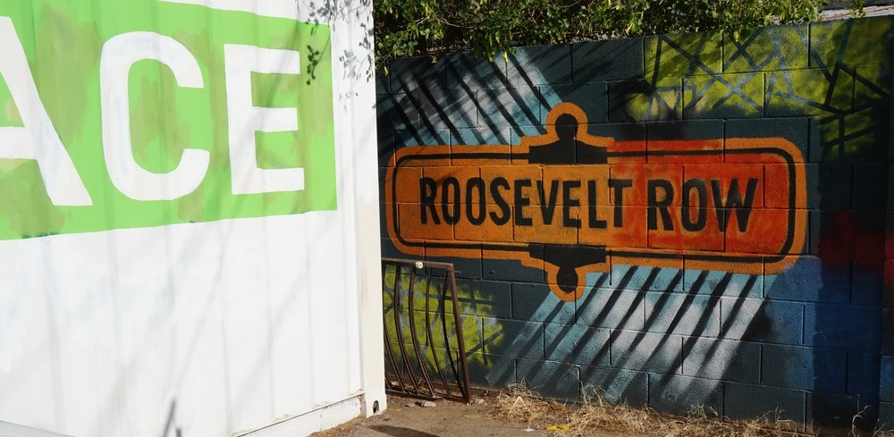 There's a section of downtown phx that is called   Roosevelt Row  . It is part of their arts district, and there are different paintings and wall murals created by different local artists. It was really cool!! There is so much talent out there!!