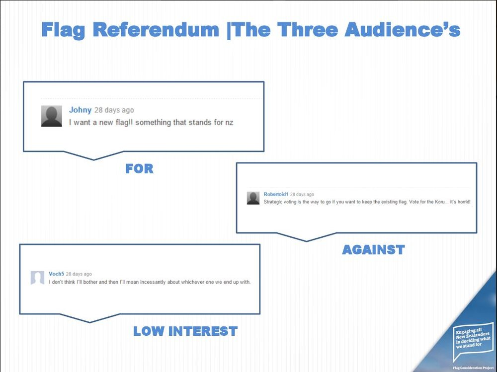 We defined three types of audience the campaign needed to reach.