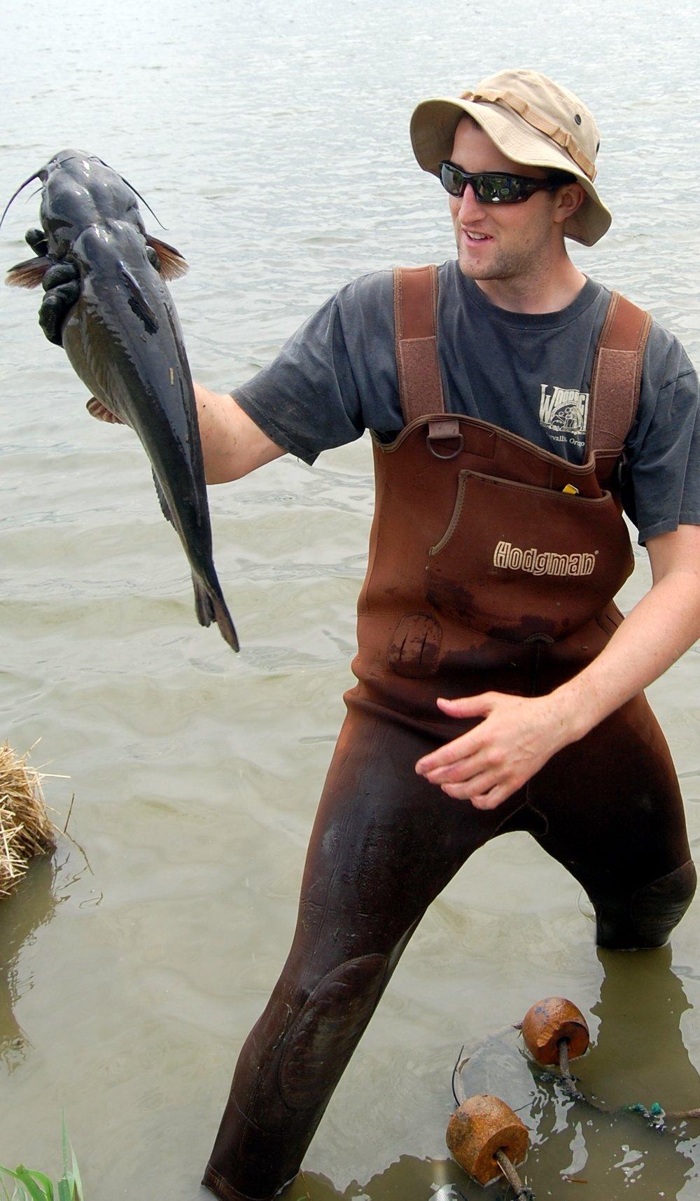 Luke holding Channel catfish