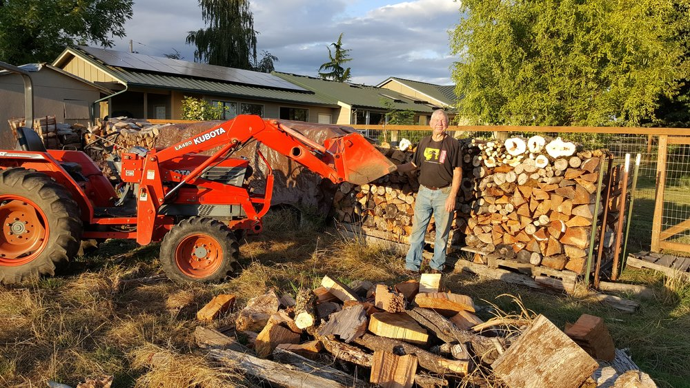 Firewood brings a flicker of happiness during the dreary months of rain in Oregon. Harvest and storage of firewood is a top priority on the farm.