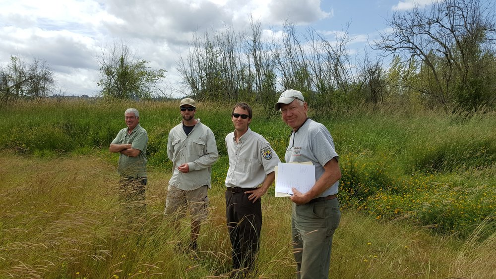 2016 -- A tour of the wetland with Chris Seal, U.S. Fish & Wildlife Service.  (Paul Conner, Luke Fitzpatrick, Chris Seal and Ken Dunder)