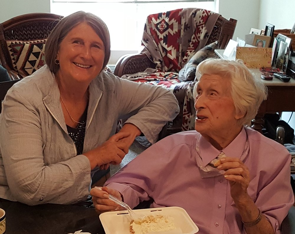 "Kathy's mother, Eleanor Kate ""Kitty"" celebrating her 97 birthday!  Kitty is an Air Force Veteran and worked with the chemical warfare department during WWII.  She married three Veterans. We love you Mom!"