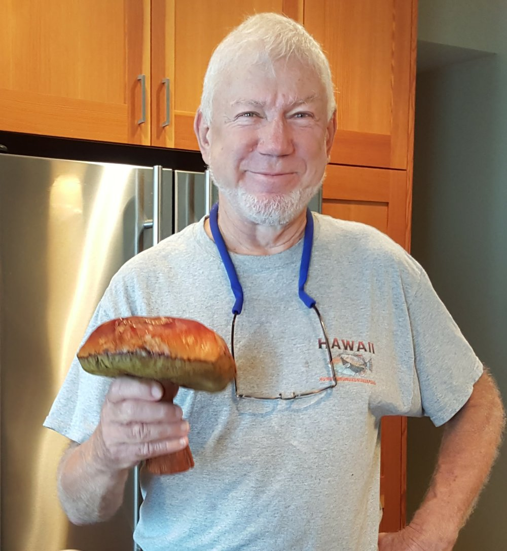 Ken is delighted to find a Giant boletus ( Boletus edulis  var.  grandedulis)  in the Coastal Range.