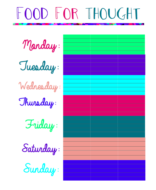 A meal planner that if you laminate, you can use over and over again.Click on the picture to receive the worksheet.