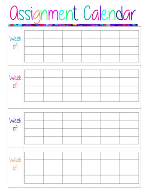 free assignment calendar