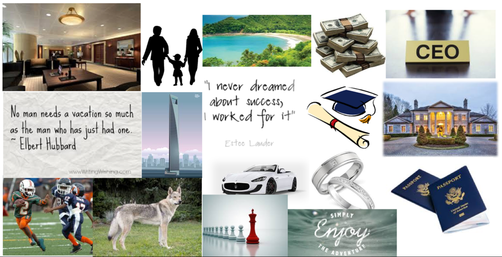 I created this vision board for a school project in PowerPoint.