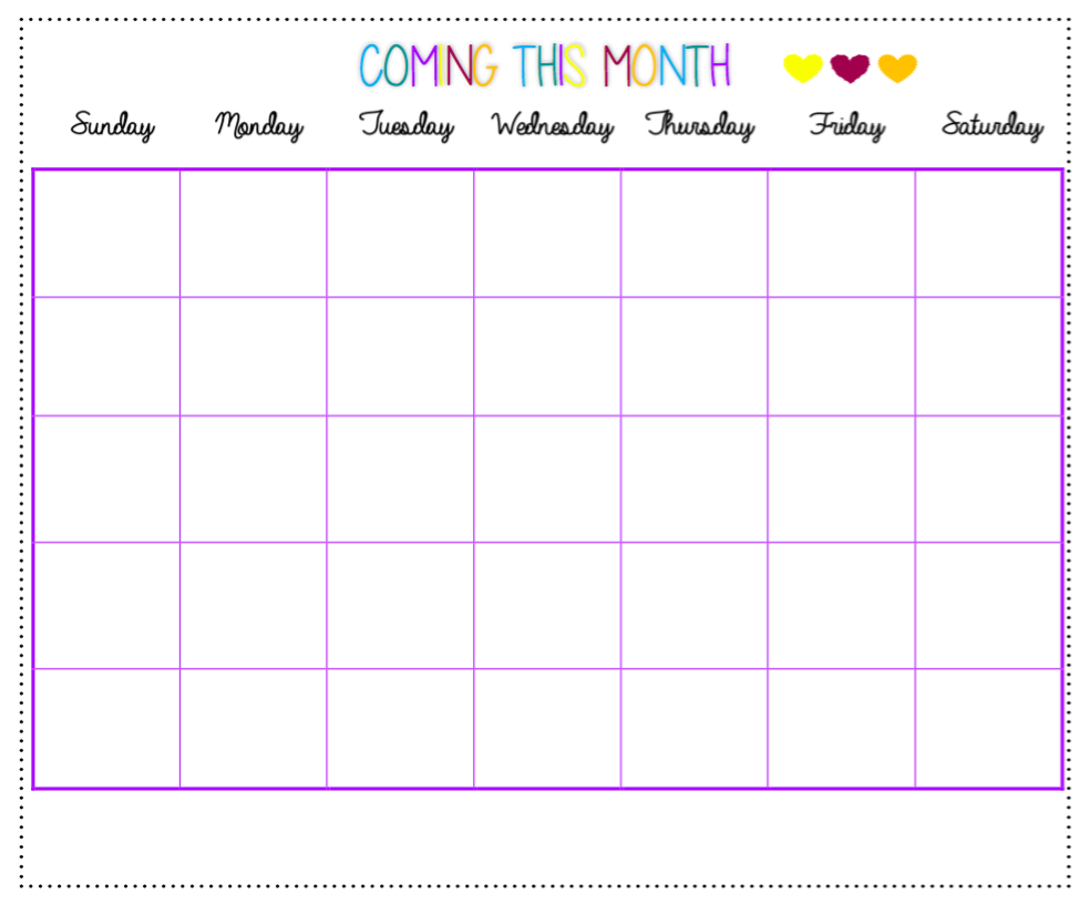 Click to download this free monthly calendar!