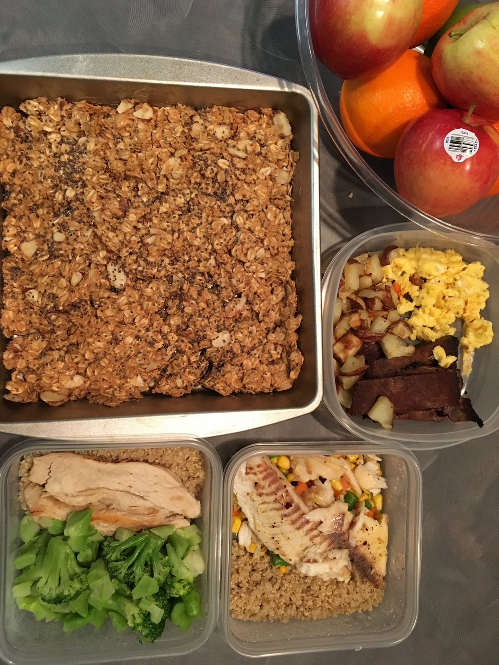 Here is a sample of food that I enjoyed for a week.  I eventually cut the pan of granola into bars, and froze half of the meals.