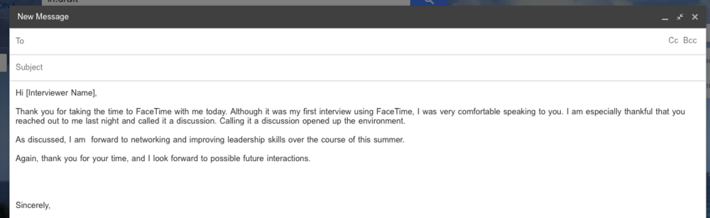 I did not receive a response to this email, however, I did receive a job offer!