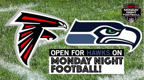 We're open for a special Monday Night showdown -- Hawks vs Falcons on Monday Night Football!  Come grab a pint and watch the game!