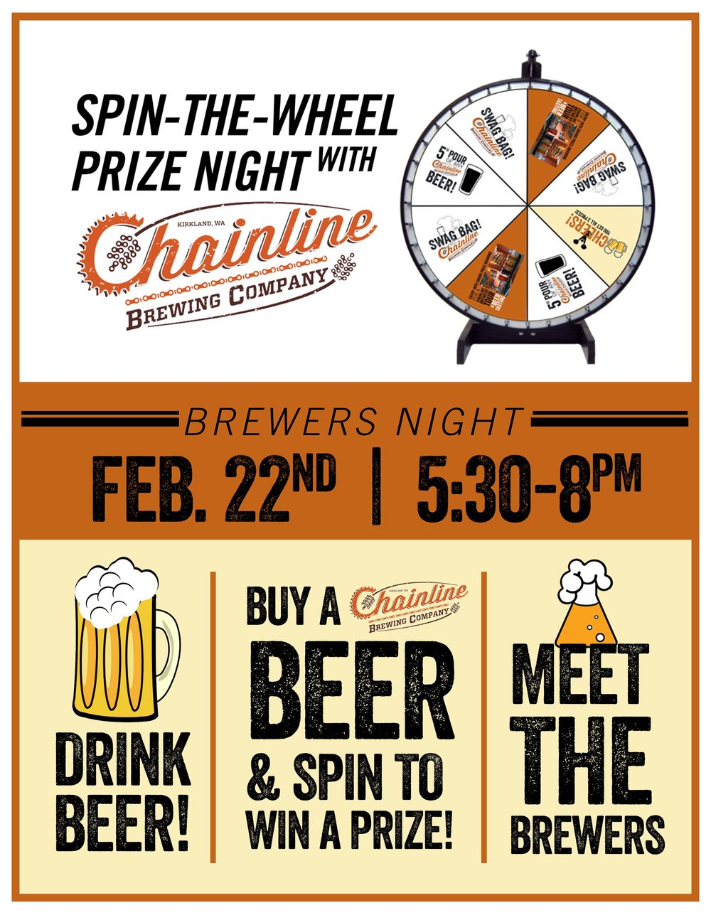 Chainline Brewing is back...this time with a prize wheel and more tasty beer, of course!  Order a Chainline Beer AND you get to spin the bike wheel to win prizes!  Plus, meet the folks from Chainline, including Brewer Aaron and new Brewer Tom! They'll be bringing a few new beers and some of their staples. (Polaris & Tune Up anyone?)
