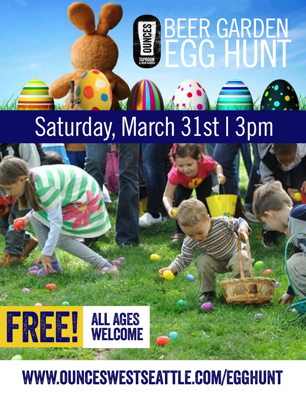 Beer for you, Candy and Egg Hunting for the kiddos!  We'll be hiding over 1,000 eggs around our beer garden for your little ones to find. It's free for all ages, Hunt starts at 3pm.