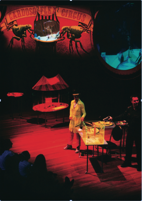 Cardoso Flea Circus live at the Opera House in Sydney, 2000. Performance live with Professor Cardoso and video artist Ross Rudesch Harley during the Sydney Festival . Photo: Anne Maregianno .