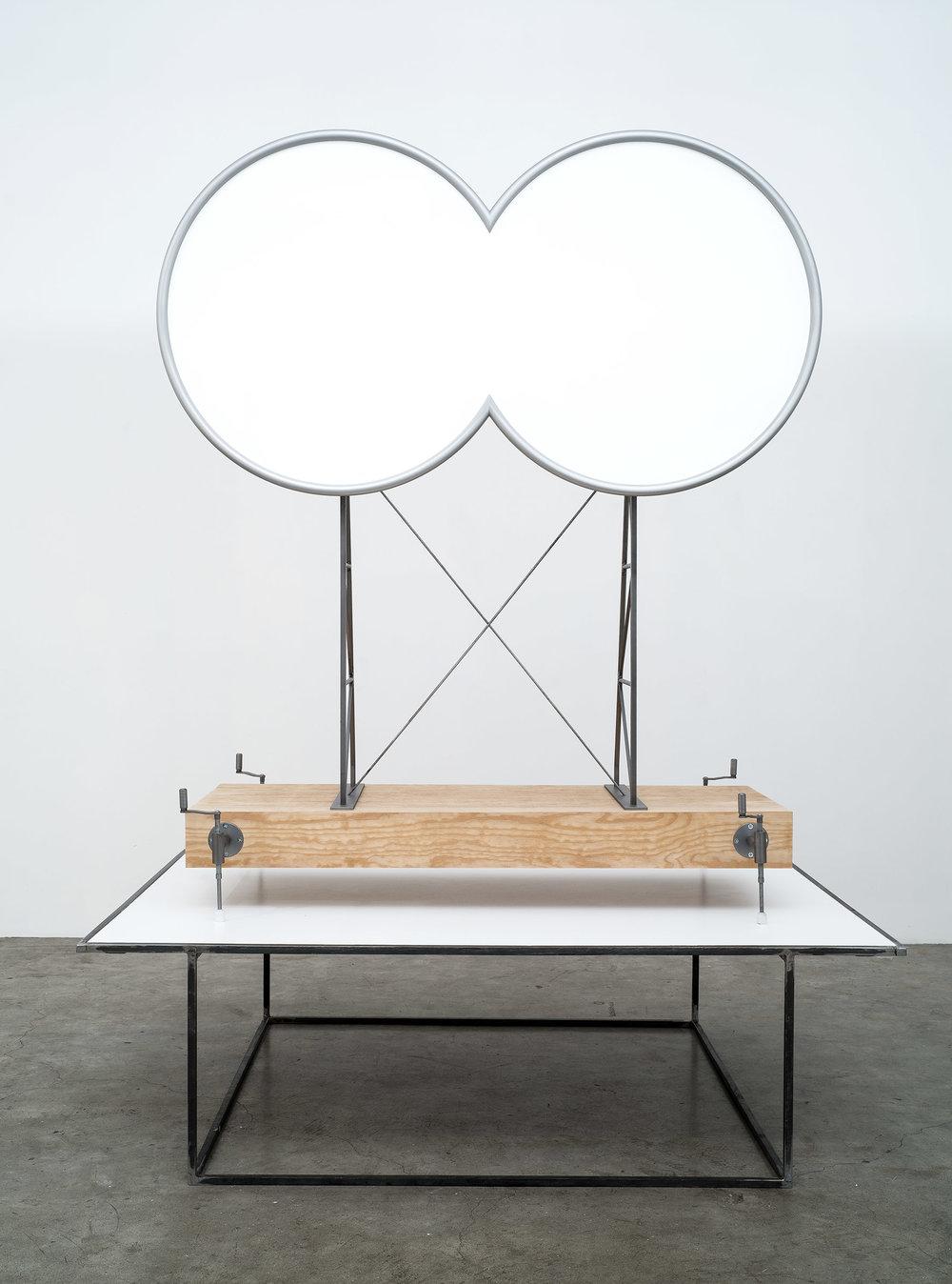 tympanumum. 2016. 130 x 75 x 165 cm (object). 160 x 120 x 47 cm (plinth). steel, wood, composite materials. unique state.