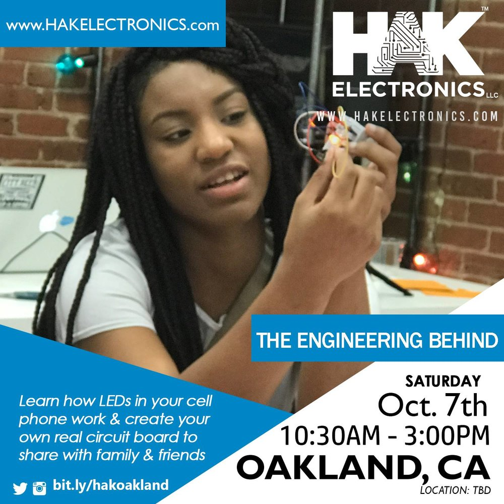 In this hands-on workshop, learn how LEDs in your cell phone work and create your own real circuit board to share with family and friends.  Students will get to build multiple circuits while learning physics and math concepts behind electricity.  Harry Kennedy from HAK Electronics, LLC will lead the workshop along with other members of the HAK team. During the event, students will learn to work with each other to solve problems. They will be challenged but will understand that being challenged builds confidence and a deeper understanding of something new.    Topics
