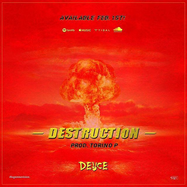 [• DESTRUCTION •] design for new single by @deuceknows_ & @torinogotheat 🔥🔥 available feb 1st on all streaming platforms! go pre-save the song via link his bio ⚡️ . . . . . . . . . . . . . #thegunnavision #art #deuce #destruction #torinop #Godspeed #darkmartyrting #graphicdesign #albumcover #coverart #artist #artoftheday #torontoartist
